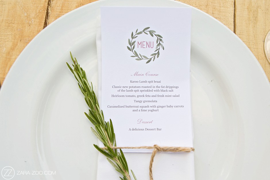 Wedding Menu Molenvliet Estate