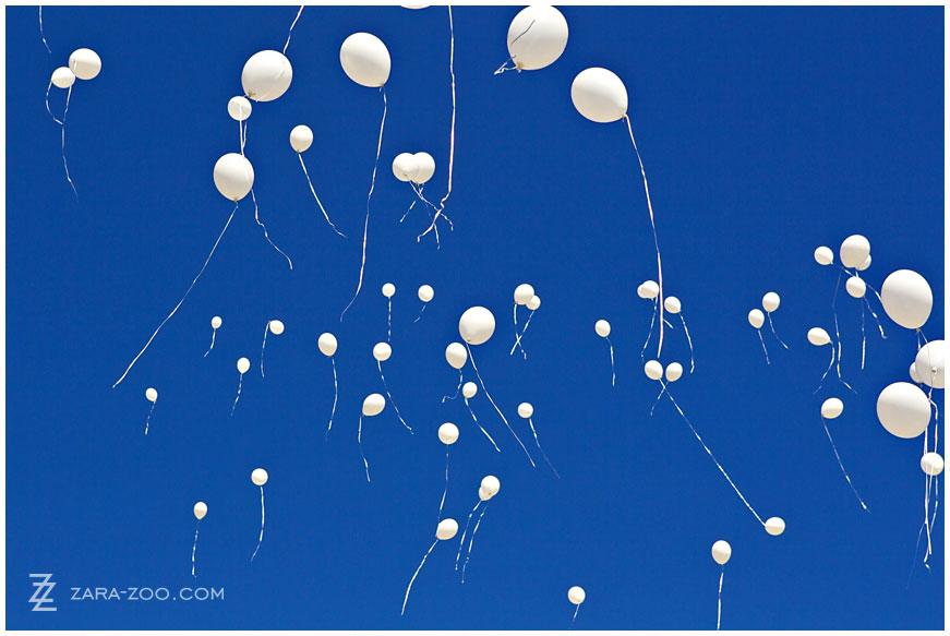 White Balloons on Wedding Day