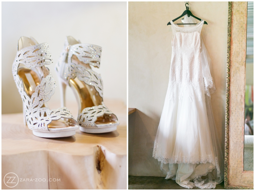 white wedding shoes and wedding dress