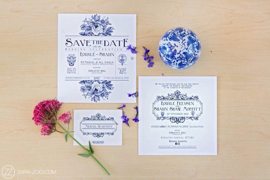 Delft Blue Wedding Invitation Save the Date