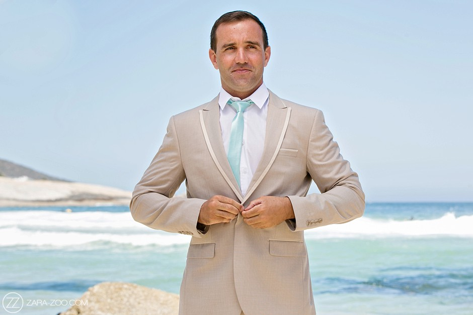 Groom at a Beach Wedding, Beige Suit