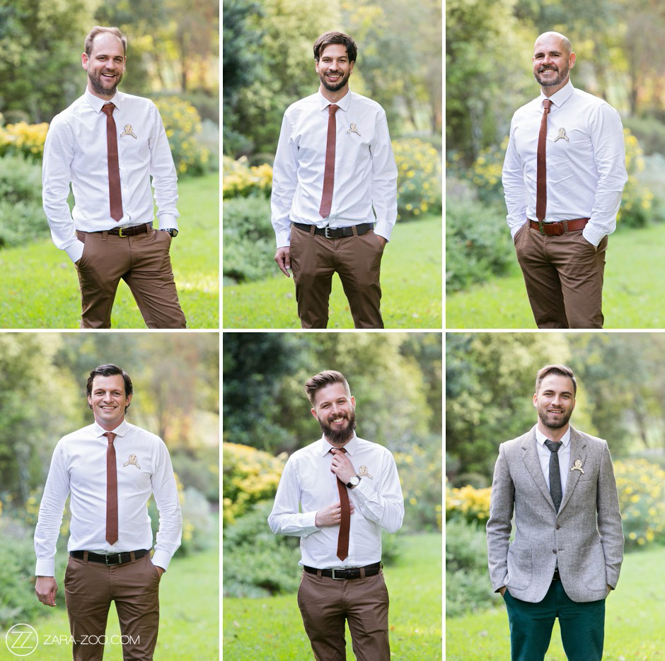 Groomsmen Attire Brown Leather for Fall Wedding