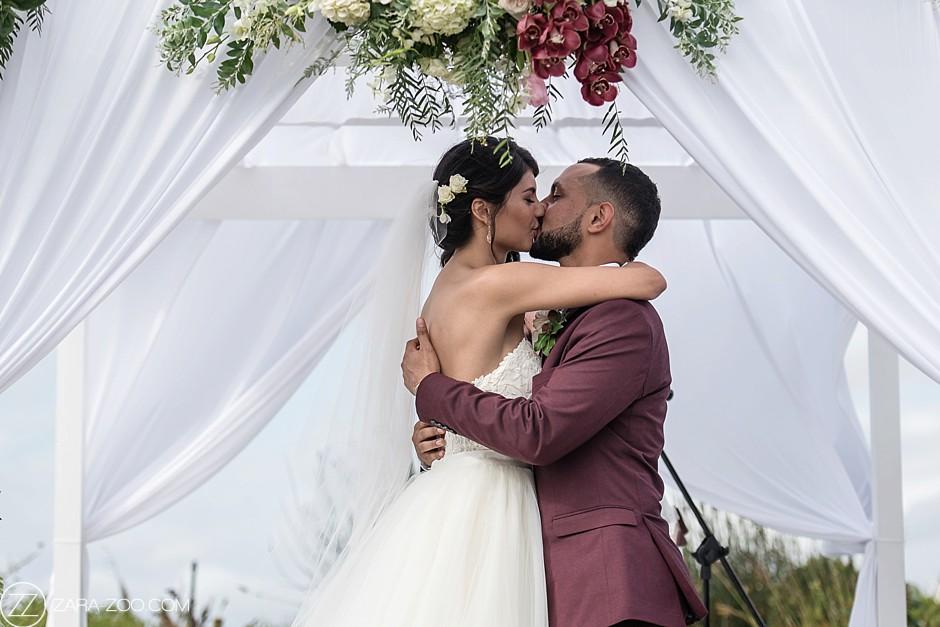Wedding Photos Couple First Kiss