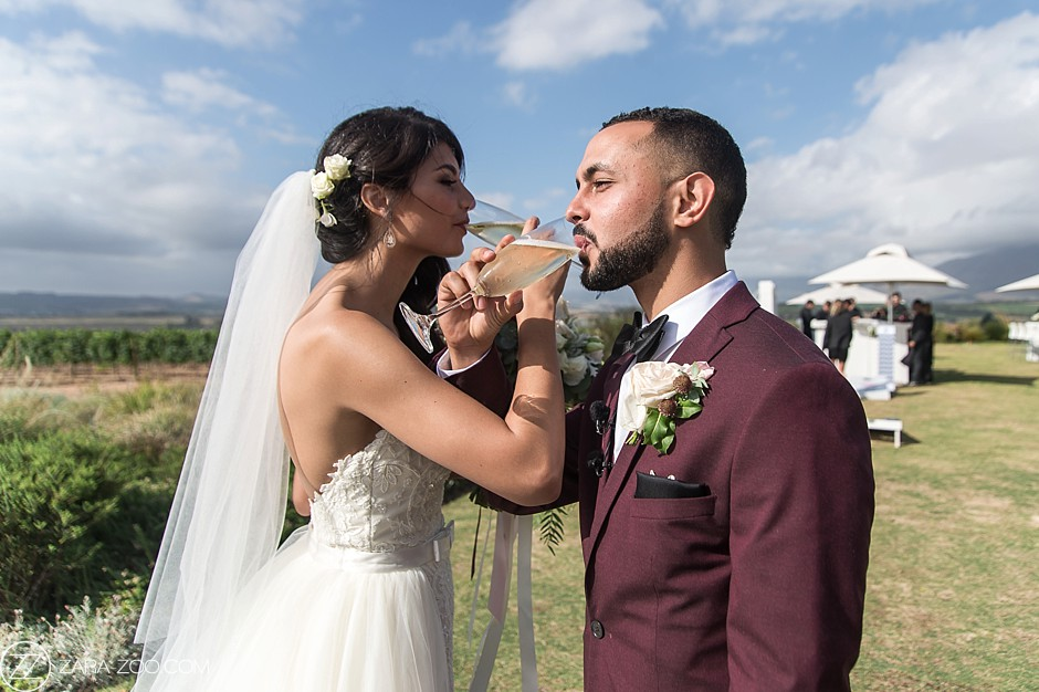 Wedding Couple Drinking Champagne