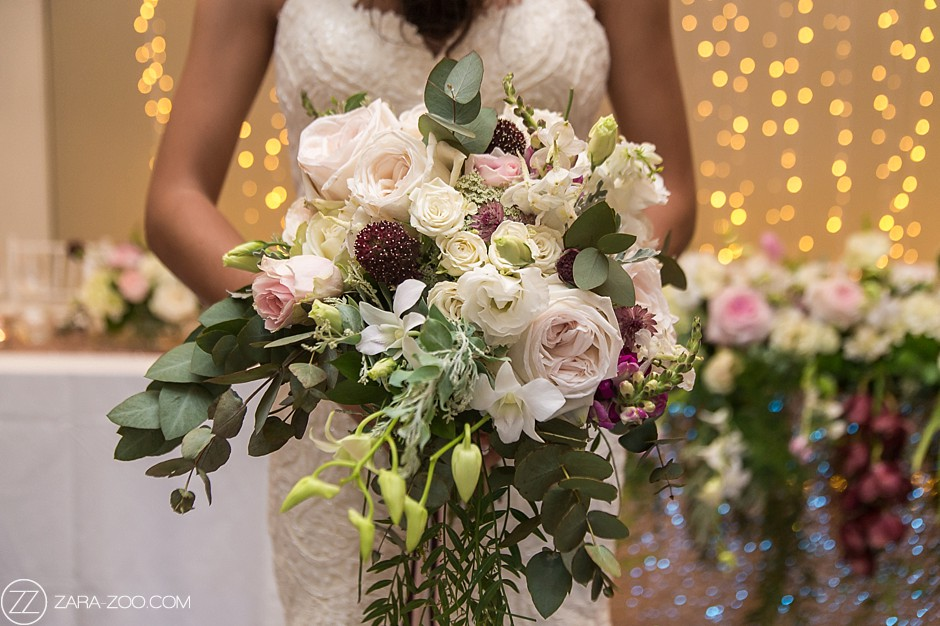 Wedding Bouquet White and Burgundy Flowers