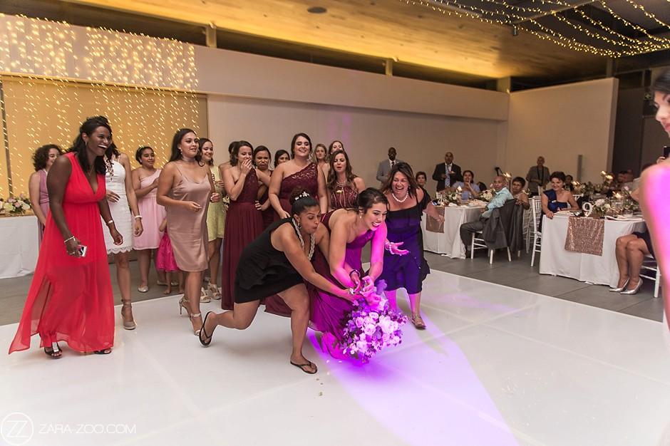 Catching Bridal Bouquet Wedding Photos