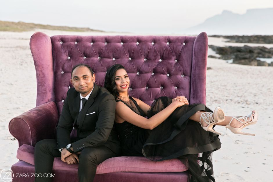 Couple Photo Shoot with Couch on Beach