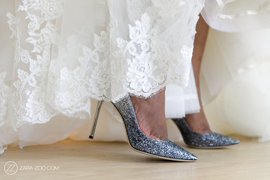 wedding shoes and dress detail