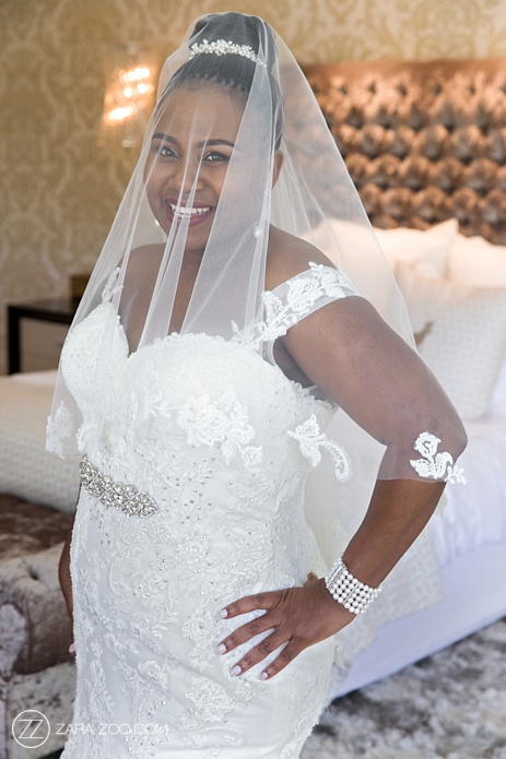 bride with veil and dress