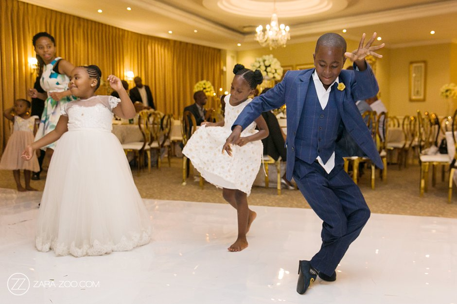 Kids dancing at a wedding in Sandton