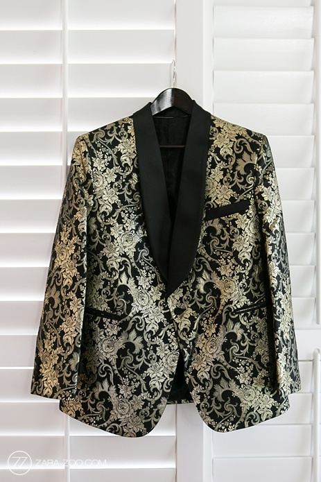 Wedding Suit Jacket Black Gold