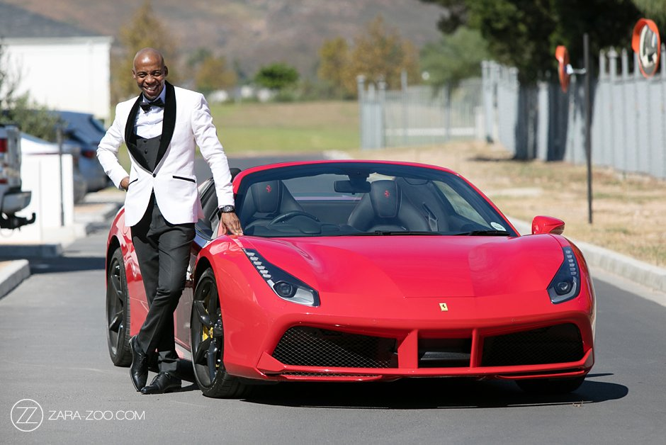 Groom Arrives in a Ferarri at Wedding