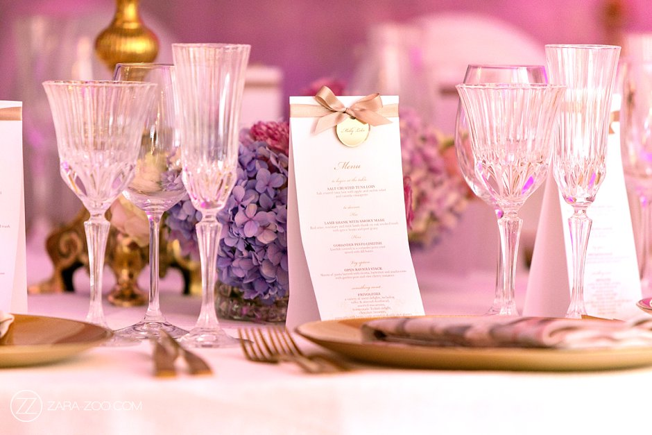 Wedding Table Decor and Menu