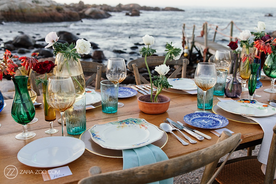 Hand Painted Antique plates - Beach Wedding Table Decor Ideas