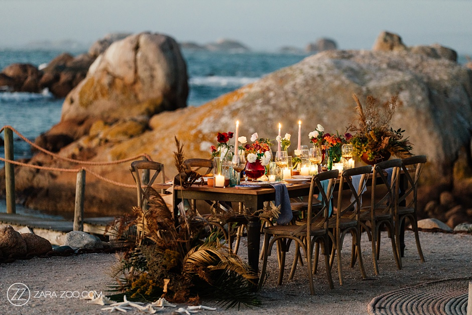 Romantic Intimate Candle lit Dinner Table by the waters edge